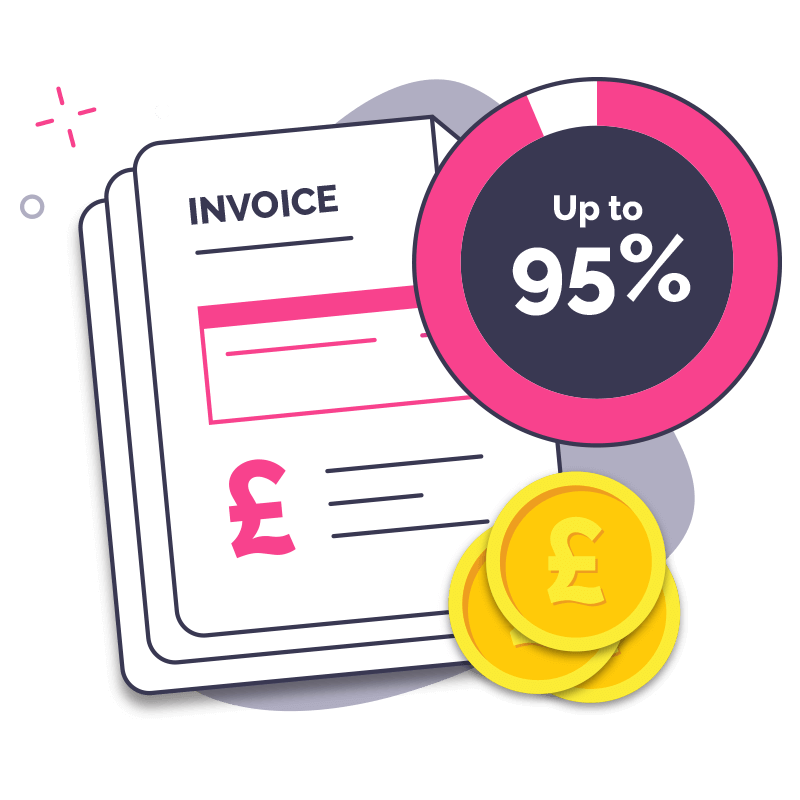 Invoice Finance Step 3 - Receive  up to 95% upfront